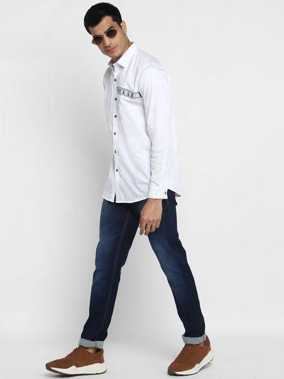 White Cut and Sew Print Shirt