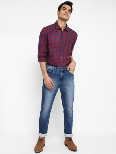 Blue Checked Full Sleeves Casual Shirt