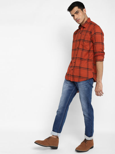 Rust Orange & Black Check Slim Fit Shirt
