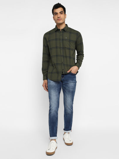 Seaweed Green Check Full Sleeves Slim Fit Shirt