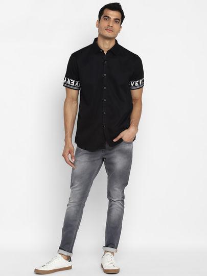 Black Printed Sleeves Shirt