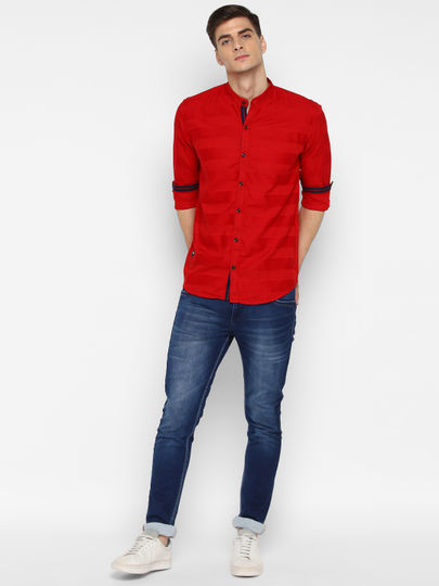 Red Self- design full sleeves shirt with band collar