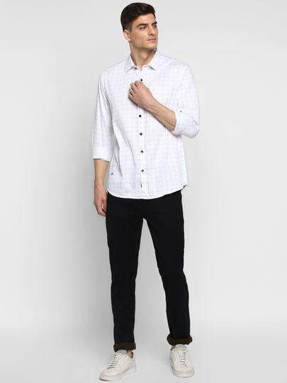 Black & White Grid Check Slim Fit Shirt