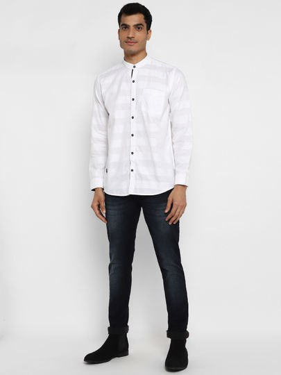 White Self- design full sleeves shirt with band collar