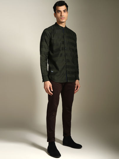 Olive Green Self- design full sleeves shirt with band collar