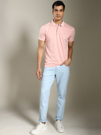 Light Blue Solid Ankle Length Trouser