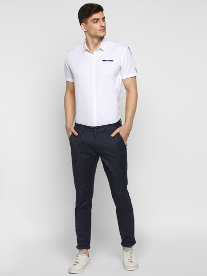 Navy Checked Ankle Length Trousers