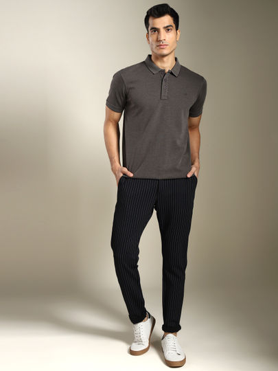Black Striped Casual Trousers