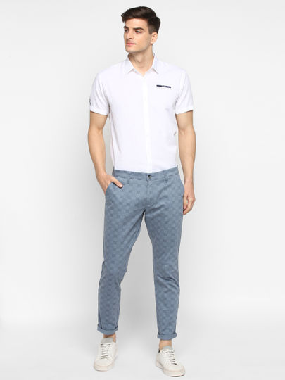 Blue Checked Slim Fit Casual Trouser