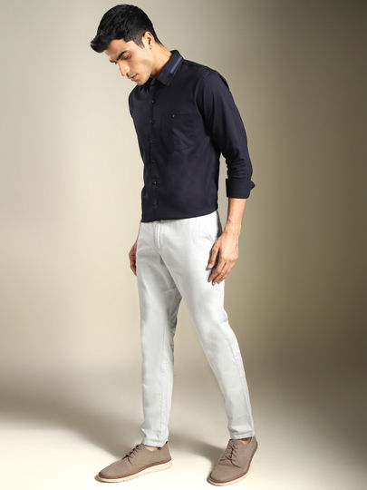 Grey Solid Ankle Length Casual Trousers