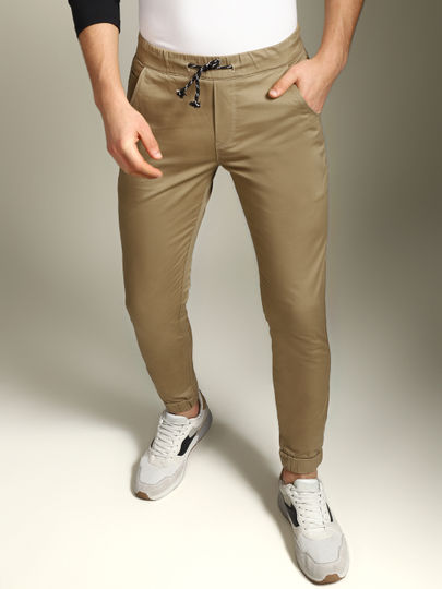 Camel Brown Mid Rise Slim Fit Pants