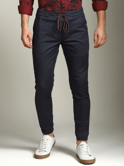 Navy Blue Solid Ankle Length Joggers