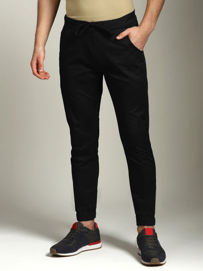 Black Solid 5 Pocket Joggers