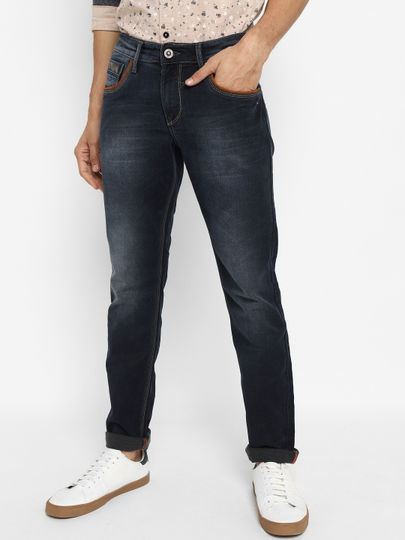 Dark Blue Mid Rise Fit Jeans