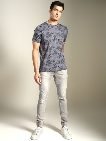 Light Grey Solid Skinny Fit Joggers