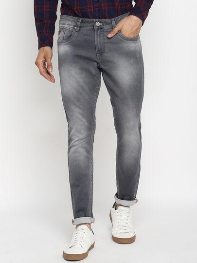 Grey Solid Slim Fit Jeans
