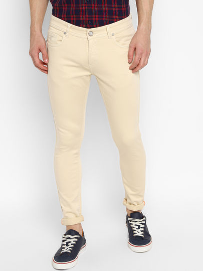 Light Khaki Slim fit Coloured Jeans