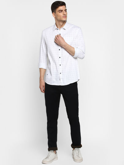 Dark Blue Solid Mid Rise Slim Fit Jeans