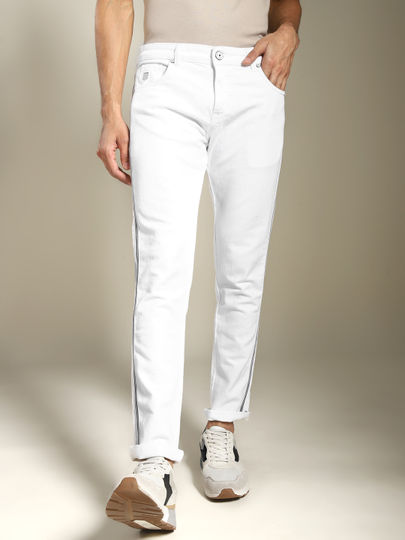 White Solid Tape Detail Jeans