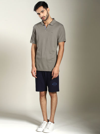 Light Grey Solid Jhonny Collar Polo T-shirt