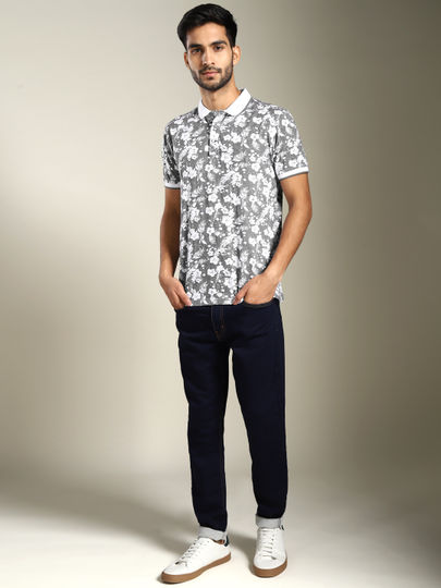 Grey Floral Print Polo T-shirt