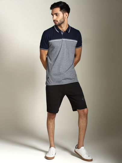 Navy Colour Block Striped Polo T-shirt