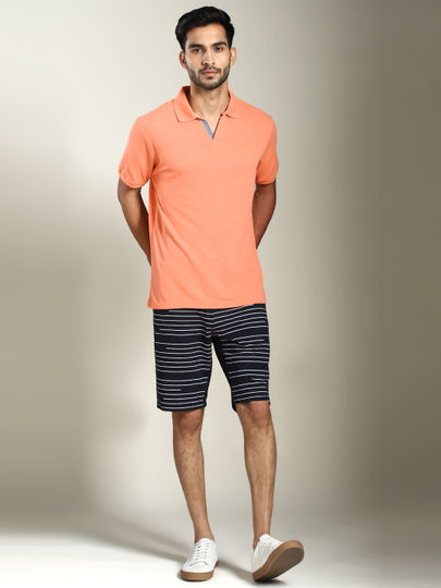 Orange Solid Polo T-shirt