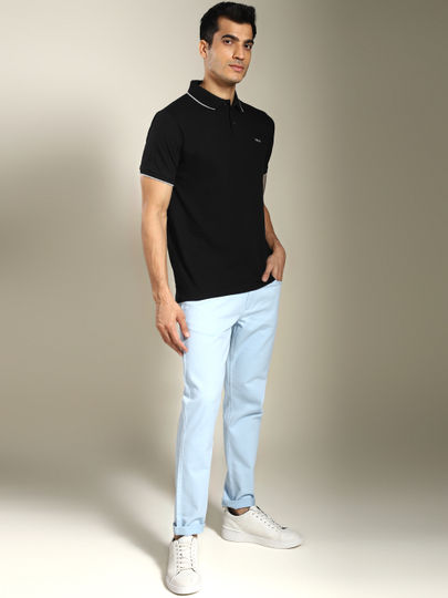 Black Contrast Tipping Solid Polo T-shirt