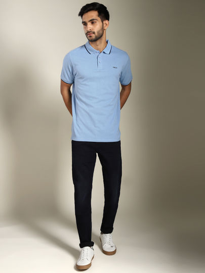 Light Blue Contrast Tipping Solid Polo T-shirt