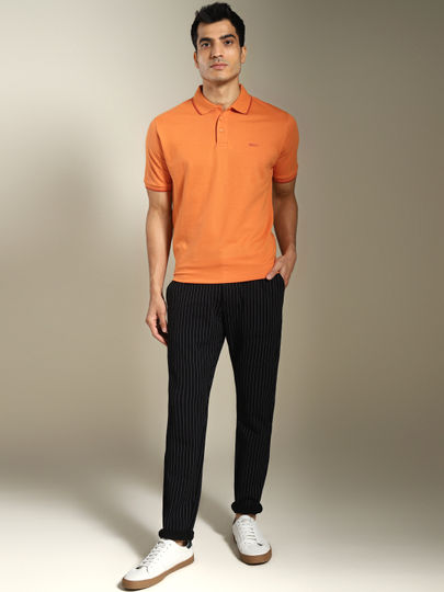 Orange Contrast Tipping Solid Polo T-shirt