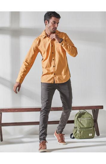 Solid Yellow Casual Hodd Shirt