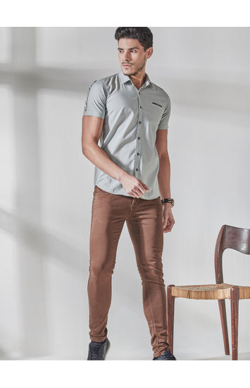 Gost Grey Sleeve Print Shirt
