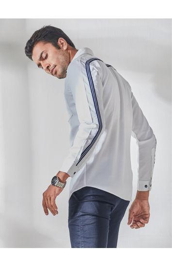 White Full Sleeves Tape Detailing Shirt