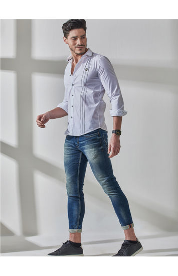 White Contrast Stripe Print Shirt