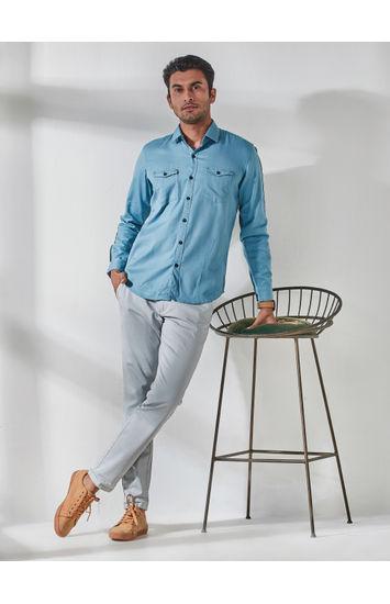 Sky Blue Full Sleeves Tape Attachement Shirt