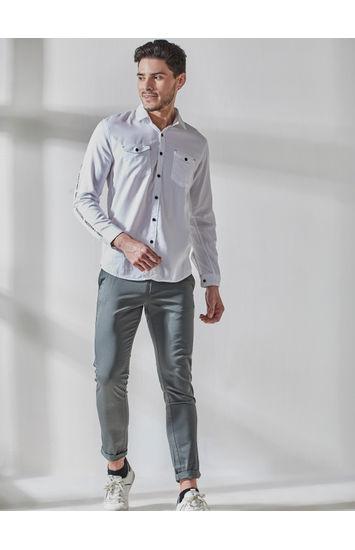 White Full Sleeves Tape Attachement Shirt
