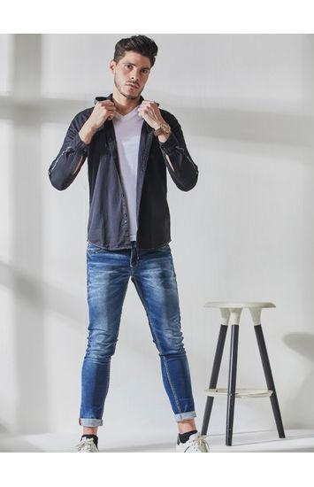 Navy Camouflauge Hodd Slim Fit Shirt