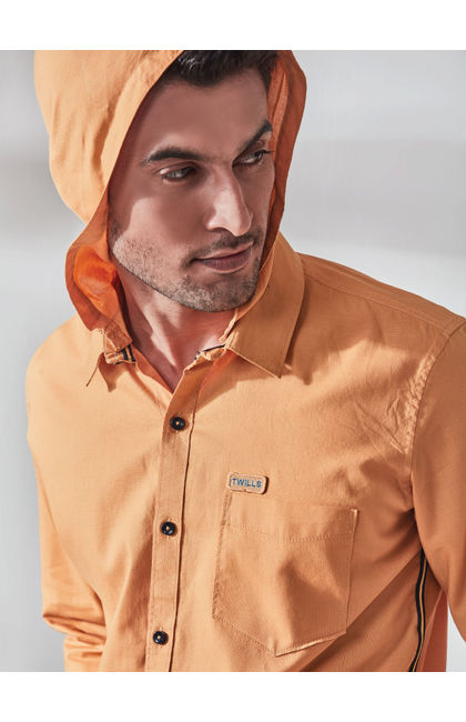 Solid Yellow Casual Hodd Shirt