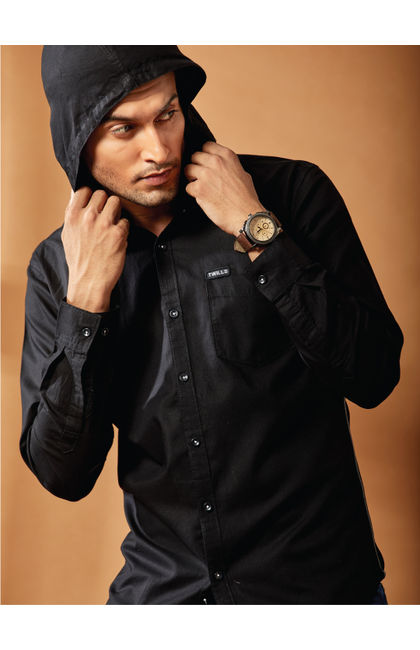 Solid Black Casual Hodd Shirt