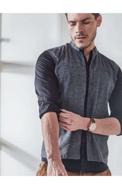 Grey Melange Full Sleeves Modi Kurta