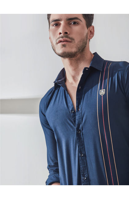 Navy Contrast Stripe Print Shirt