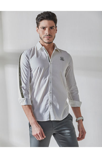 White Contrast Tape Detailing Shirt