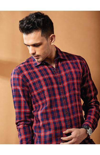Red Indigo Checks Full Sleeves Shirt