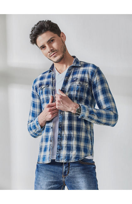 Indigo Checks Washed Down Shirt
