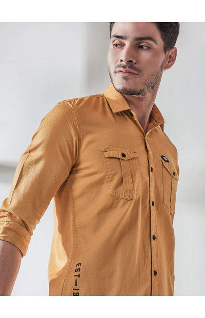Bright Yellow Placement Print Full Sleves Shirt