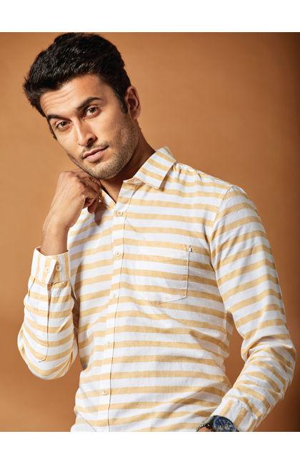 Yellow Horizontal Striped full Sleeves Shirt