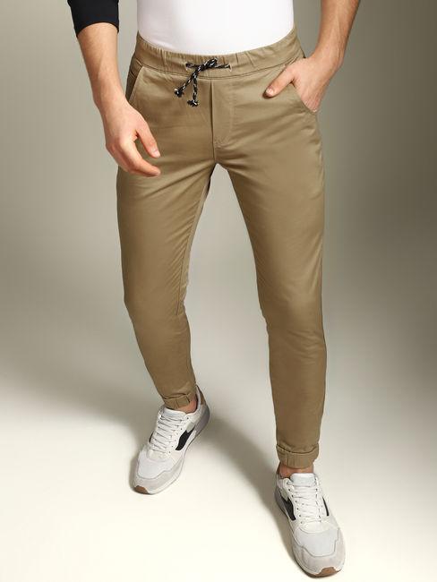 Camel Brown Mid Rise Slim Fit Pants