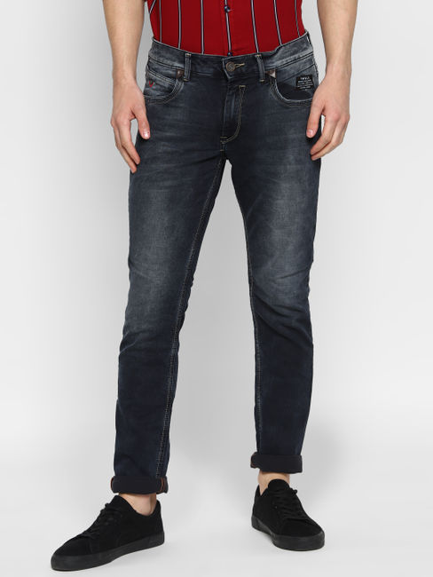 Dark grey washed Mid Rise Jeans