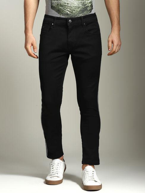 Jet Black Side Tape Detailed Skinny Fit Jeans