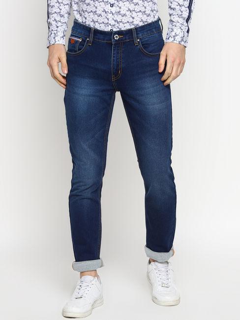 Blue Slim Fit Contrast Stitch Jeans